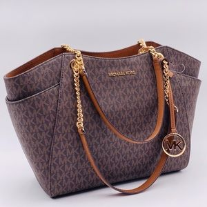 Michael Kors Chain Shoulder Tote Sig Brown